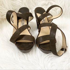 Jimmy Choo brown croco double ankle strap sandal 7